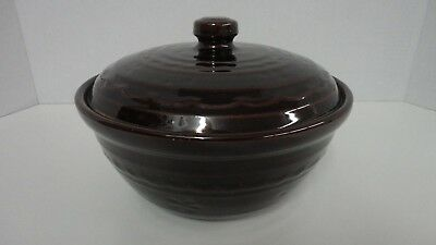 Marcrest Daisy Dot Brown Stoneware Casserole Dish with Lid