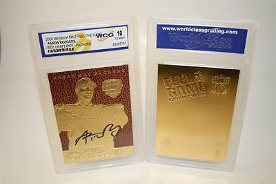 AARON RODGERS 2005 Draft Pick FEEL THE GAME Gold Card Textured Grade GEM MINT 10