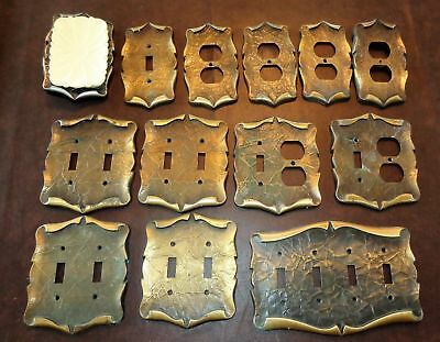 13 Vintage Amerock Brass Color Light Switch Outlet Cover Plates 2 & 4 Toggle Sa