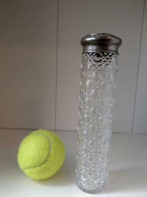 Hat pin jar cut glass with cane hexagon pattern c1912
