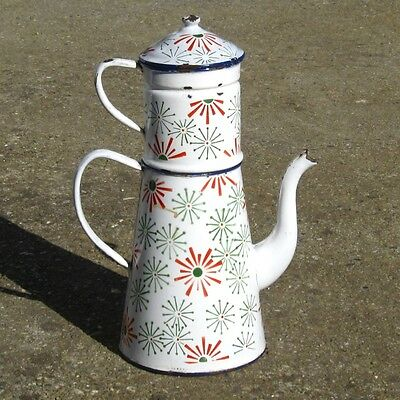 Rare Extra Large Vintage French Enamelware Enamel Coffee Pot, 16 ⅛ inches