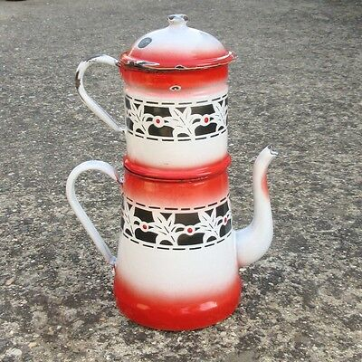 Vintage French Enamelware Enamel Red, White and Black Coffee Pot, 12 ¼ inches