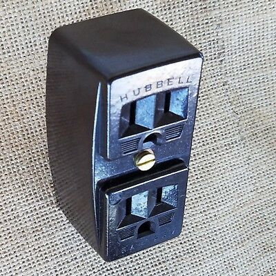 Vintage Hubbell Plug Receptacle Adapter 2 Prong to 3 Prong w Ground Bakelite