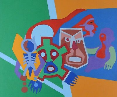 """Robert Burke Painting Native American Acrylic on Canvas 33x36"""" Canadian Listed"""