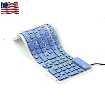 Portable Wired Keyboard USB Slim Silicone Silent Waterproof for Computer Laptop
