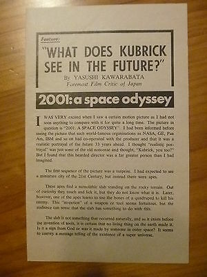 2001 : A Space Odyssey...hand Bill / Review By Yasushi Kawarabata ****rare****