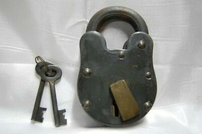 "Iron Padlock Lock 3.75"" Antique Style Brass Rustic Finish with Skeleton Keys"