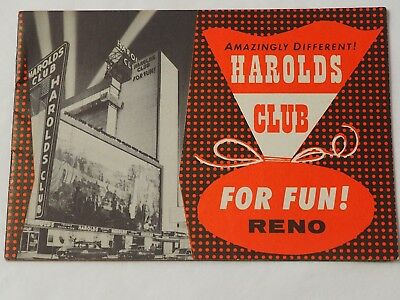 Amazingly Different HAROLDS CLUB Casino For Fun RENO Gaming Pamphlet 1958