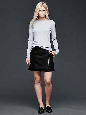 NEW GAP WOMENS Black Mini Wrap Front Zip Wool Flannel Lined Skirt 6 10 14 $54 NW
