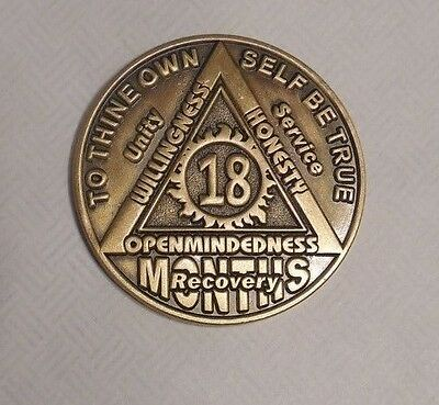 18 month bronze aa alcoholics anonymous chip coin token medallion new