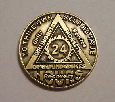 aa bronze alcoholics anonymous 24 hour sobriety chip coin token medallion NEW