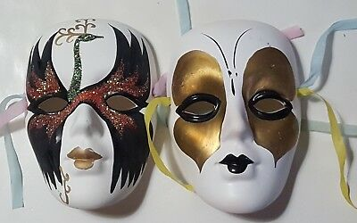 Pair of vintage, Small, Ceramic, decorative Wall Masks hand painted