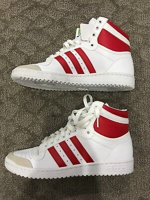 b713b4a0acf0 Mens Adidas Originals Top Ten High Top White Collegiate Red Sample Shoes NEW