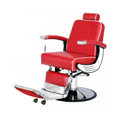 PureOX Barber Chair with Recline System BS-0405 - Red Barber Salon