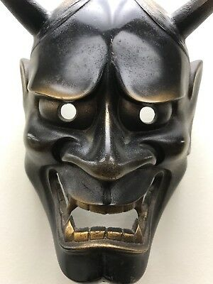 Japanese Hannya Iron Mask Omen Noh Kabuki Samurai Demon - Signed / Maked