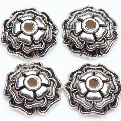 25/50Pcs Tibetan Silver Flower Spacer Bead Caps 10x3mm DIY Jewelry Making