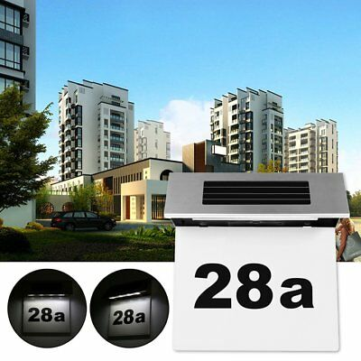 4 LED Solar Power Doorplate Light Stainless Steel House Number Outdoor Lamp  LF