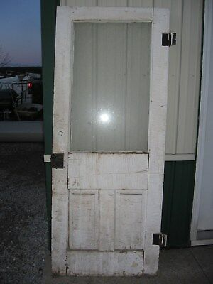 Vintage WOOD DOOR with window white wooden glass architectural salvage