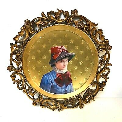 Signed Circa 1840's Fine Paris Porcelain Portrait Plate in Ornate Antique Frame