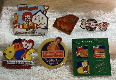 Lot of 6 McDonald's Crew Employee Pins Ty Beanie Fisher Price More Circa 2000