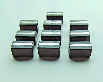 10 Vintage Black BAKELITE & Crome Art Deco Chest Cabinet DRAWER PULLS Knobs
