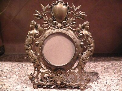 Antique Vintage Brass or Bronze Winged Fairies Mermaids Picture Frame