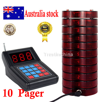 10 Restaurant Coaster Pager Guest Call Wireless Paging Queuing Calling System AU