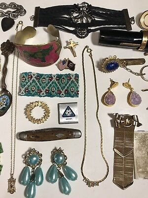Estate Vintage Junk Drawer Lot Antique Costume Jewelry Old Photo Fountain Pen