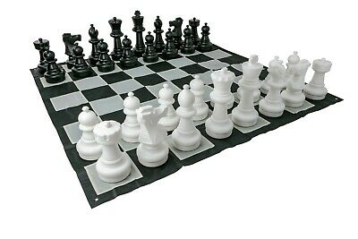 Giant Size Plastic Outdoor Chess Game Set With Nylon 1.5X1.5M Mat Jenjo Games