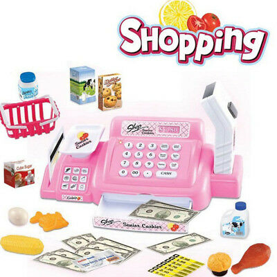 Kids Pretend Role Play Shopping Cash Register Shop Operated Cashier Toys