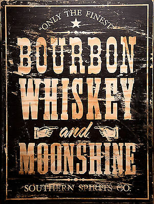 Bourbon Whiskey and Moonshine Retro vintage Metal Wall sign/plaque Bar/Pub Chic