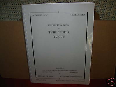 Manual Reprint For TV-3  TV-3B/U  TV3 Tube Tester With Testing Data