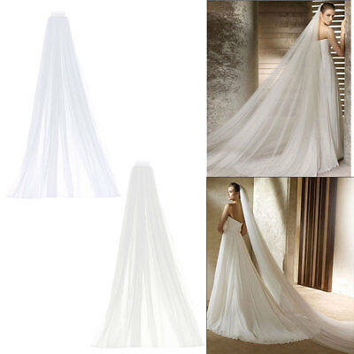 "120"" 2T Long Ivory White Wedding Veil Cathedral with Comb Hen Party Fancy Dress"