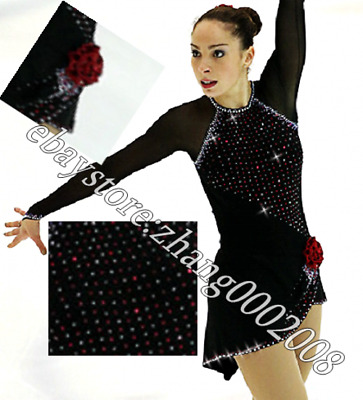 Black Ice Skating Dress.Competition Figure Skating.Decotated Boton Dance Costume