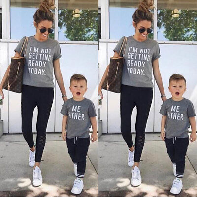7eaa5386013745 Family Matching Outfits T-shirt Mother Daughter Father Son Tops Blouse  Summer