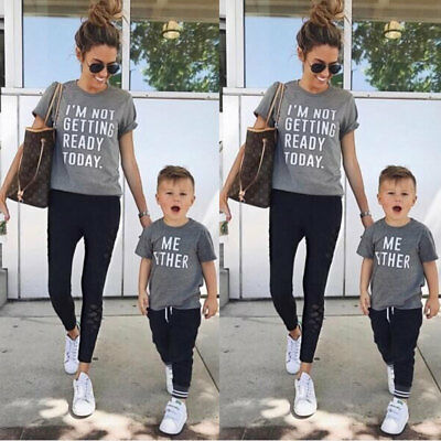 Family Matching Outfits T-shirt Mother Daughter Father Son Tops Blouse Summer AU