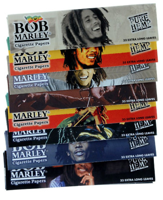 5 x Bob Marley Papers King Size 33 Long Leaves Cigarette Paper Rolling Mull Buds