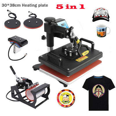 "15""x15"" 5IN1 Combo T-Shirt Heat Press Transfer Machine Sublimation Swing Away HS"