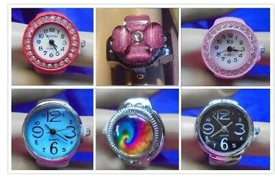 Ring Watch Fashion Crystals Rainbow Flower Women Men Pink Red Purple Blue Black