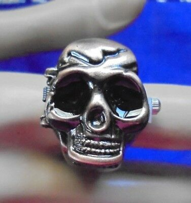 Ring Watch Skull Bronze Fashion Women Men Flip Top Case Fashion Finger Gift