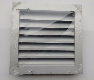 250mm Square Aluminium External Weather Louvre Grille, bird mesh on rear - qty 2
