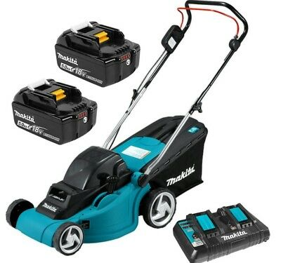 Makita DLM380PT2 36V 18V x 2  5.0Ah Li-Ion Cordless Lawn Mower Combo Kit New Oz