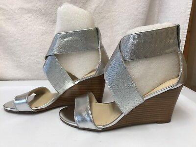 aba25b4c0e6 WOMENS MARC FISHER Stretch Criss-cross Wedges Cecila Silver Size US ...