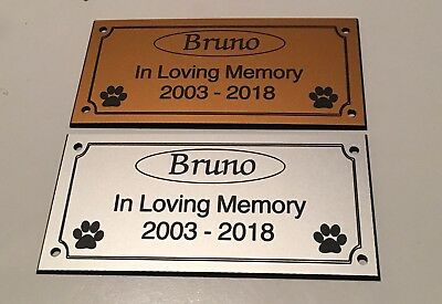 Pet Memorial Bench Plaque (Dogs / Cat paw prints)