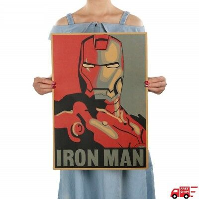 Iron Man Poster Adornment Picture Iron Man Design Drawings Nostalgic Retro Kraft