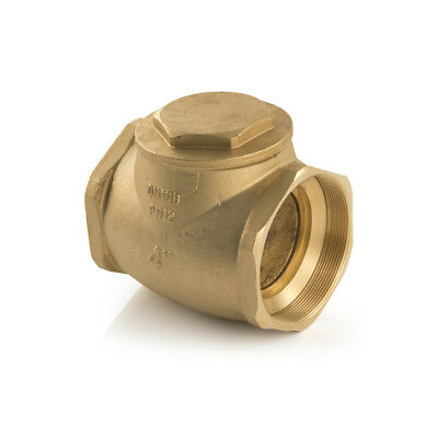 """New Water Swing Check Valve - Brass 4"""" BSP, Hot, cold or oil, water, female, UK"""