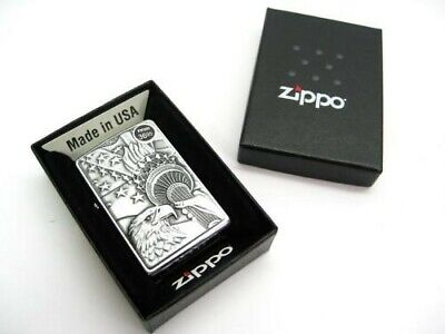 Zippo Brushed Chrome Something Patriotic Emblem Classic Windproof Lighter 20895