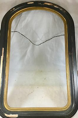 Antique Early 1900s Lg Round Top Painted Wood Picture Frame Beveled Gold Trim