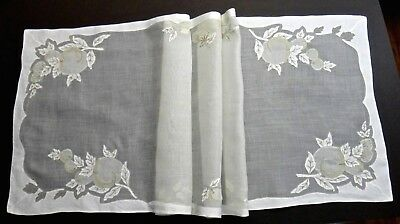 """Vtg Madeira Embroidery Organdy Linen Table Runner 43"""" - Fruits Taupe & Off White"""