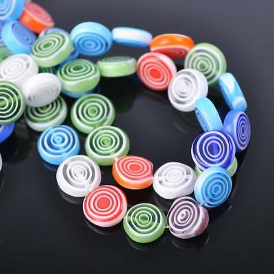20pcs 12mm Mixed Oblate Circles Millefiori Glass Loose Spacer Beads Findings